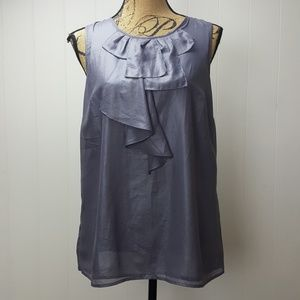Loft Silver Gray Metallic Ruffle Tank Top